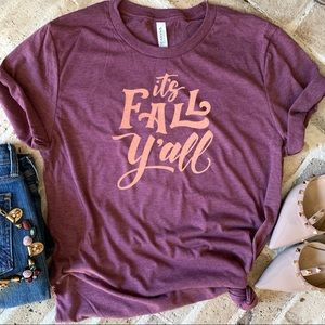 It's Fall Y'all rose gold graphic tee t-shirt top